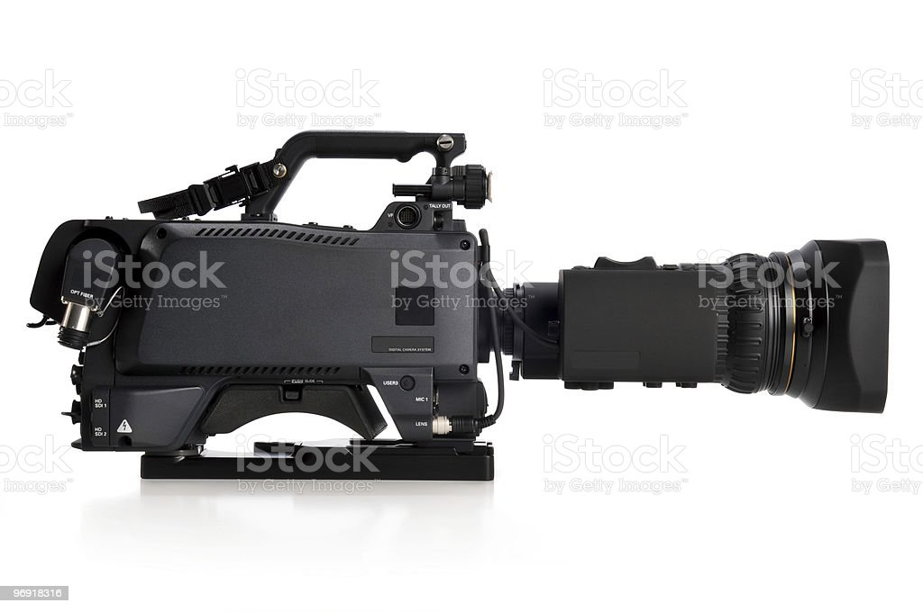 Professional video camera facing right royalty-free stock photo
