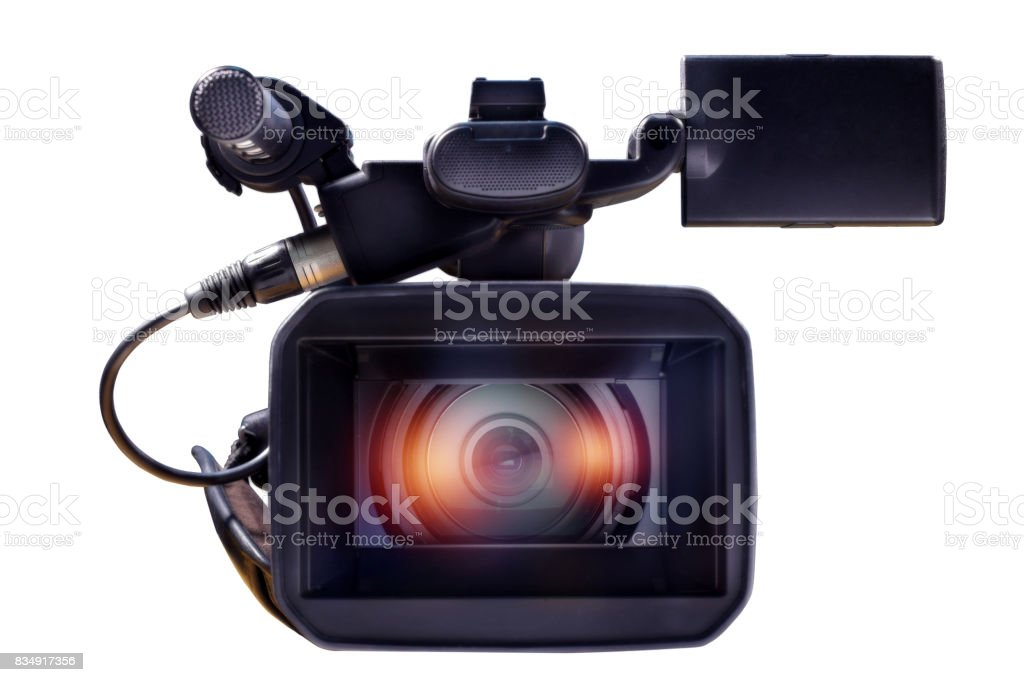 professional video camera isolated on a white background stock photo