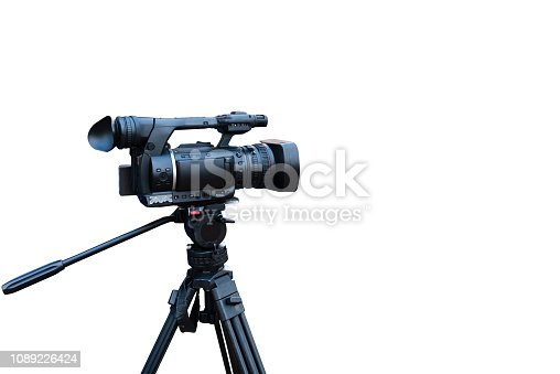 professional video camera isolated on white with clipping path