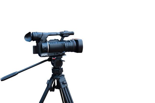 클리핑 패스와 함께 흰색 절연 프로 페 셔널 비디오 카메라 - 미디어 장비 뉴스 사진 이미지