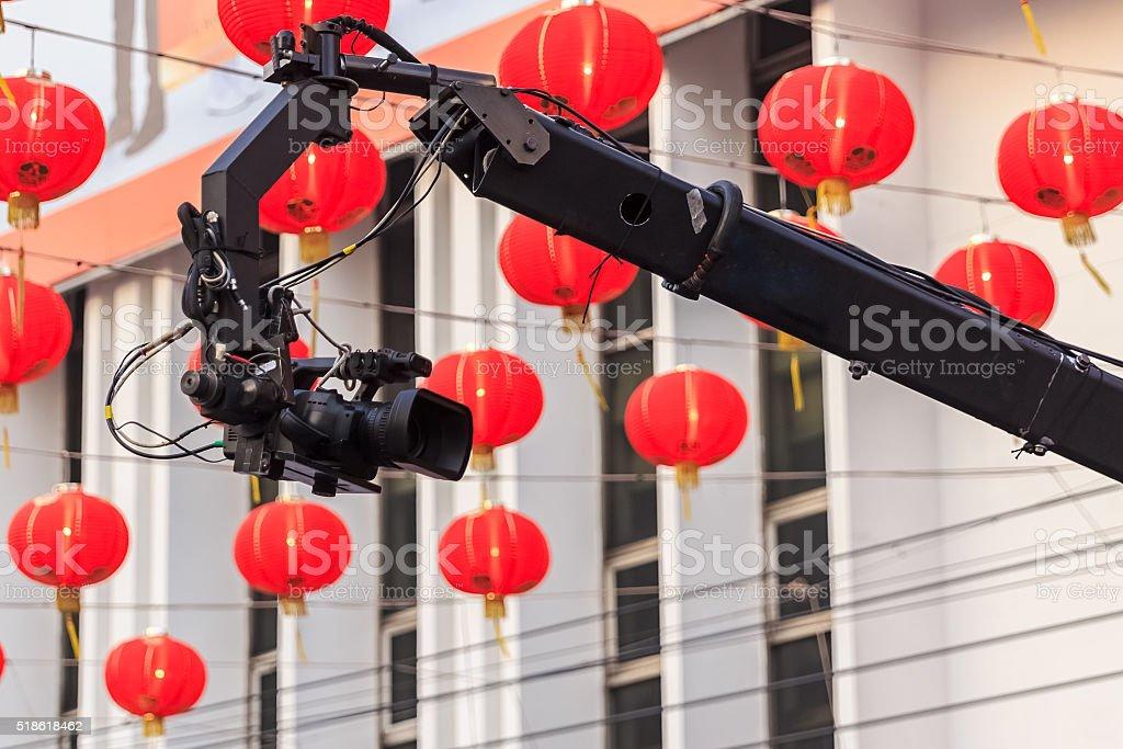 Professional Video Camera on Camera Crane stock photo