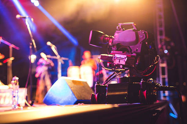 Professional video camera on the slider stock photo