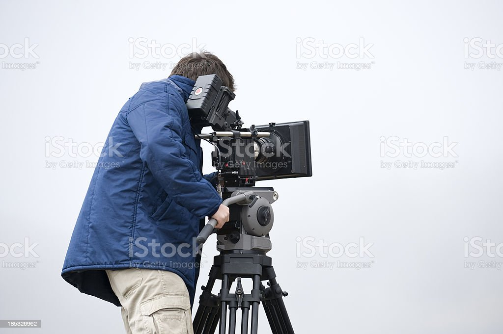 professional video cameraman stock photo