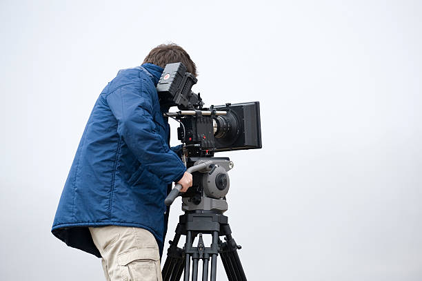 professional video cameraman stock photo