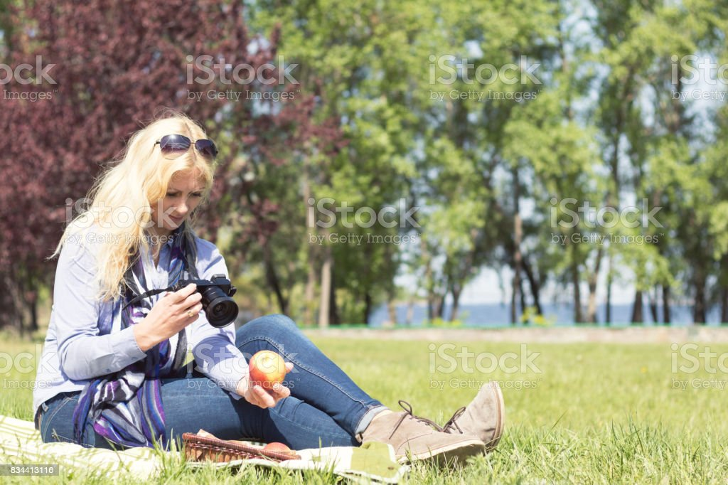 Professional woman photographer royalty-free stock photo