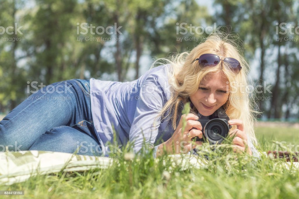 Professional woman photographer royalty-free stock photo