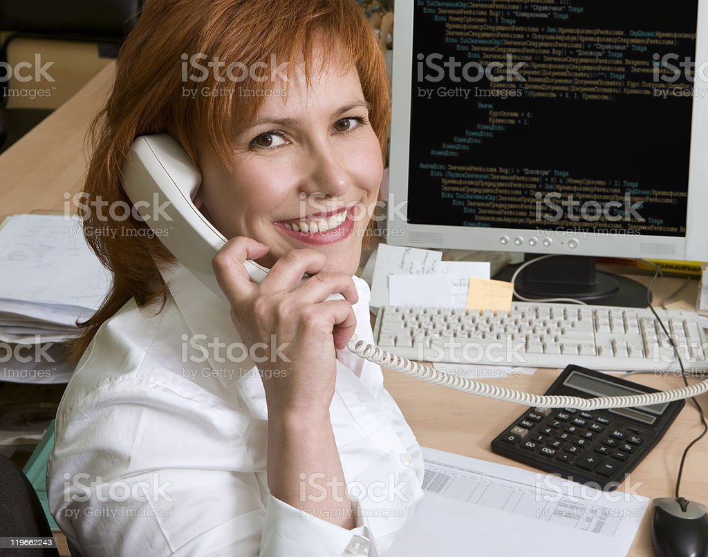 Professional woman programmer royalty-free stock photo