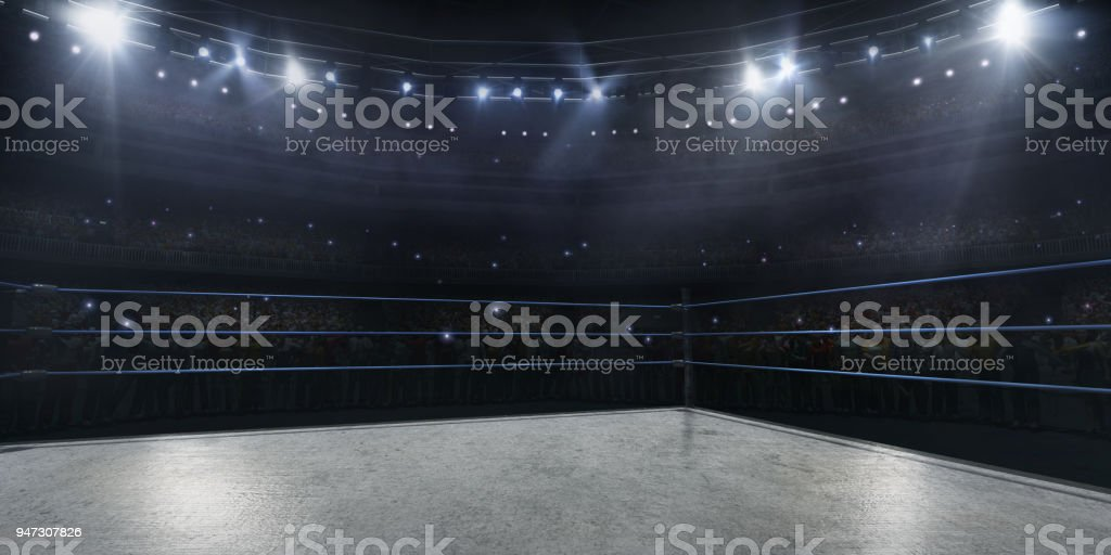 Professional wrestling and boxing ring in 3D - foto stock