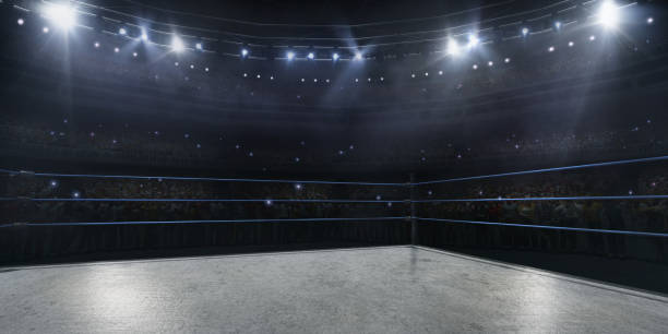 Professional wrestling and boxing ring in 3D - fotografia de stock