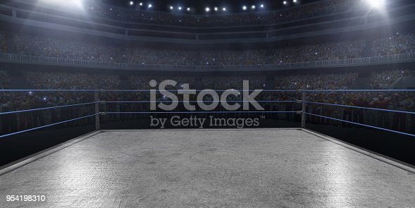 Professional wrestling and boxing ring in 3D with tribune, fans and rays of light