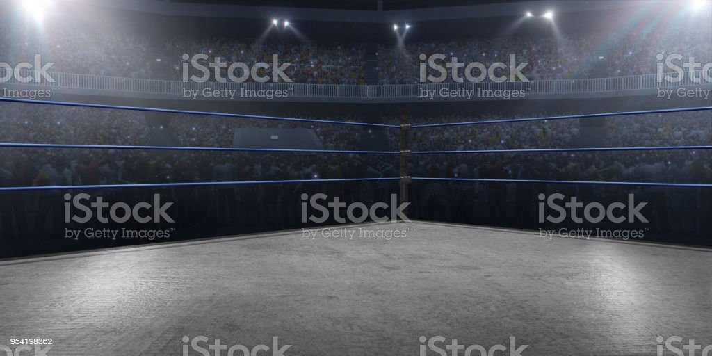 Professional wrestling and boxing ring in 3D stock photo