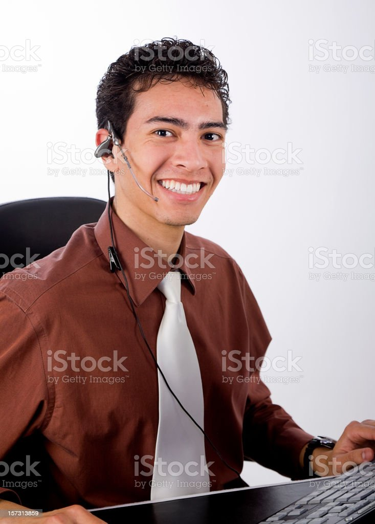 Professional Young Man Working at a Computer royalty-free stock photo