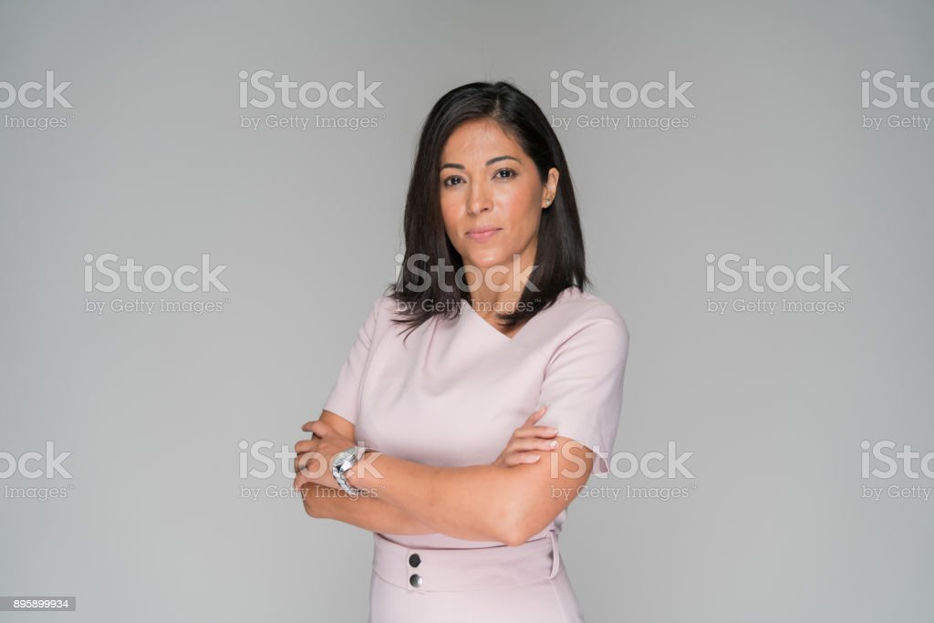 Professionally dressed wonam in pink stock photo