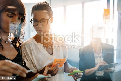 istock Professionals using adhesive notes for brainstorming 841152270