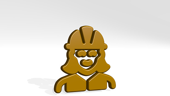 istock professions woman construction made by 3D illustration of a shiny metallic sculpture with the shadow on light background. icon and set 1262401727