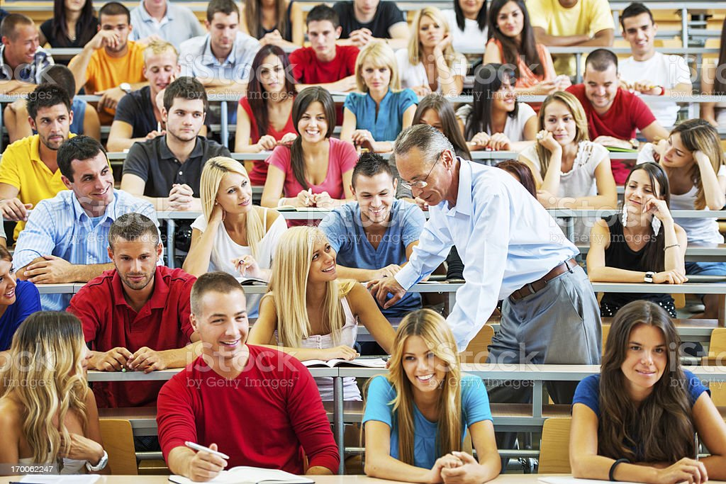 Professor helping a student. royalty-free stock photo