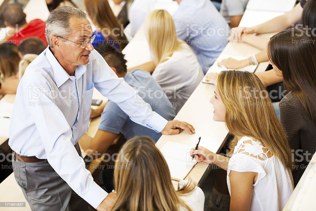Professor helping a student royalty-free stock photo