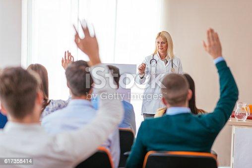 933450738 istock photo Professor of medicine science with students 617358414