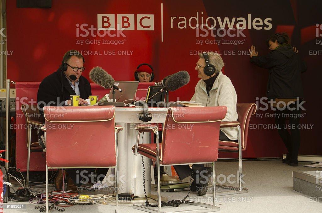 Professor Wynn Thomas on BBC Radio Wales stock photo