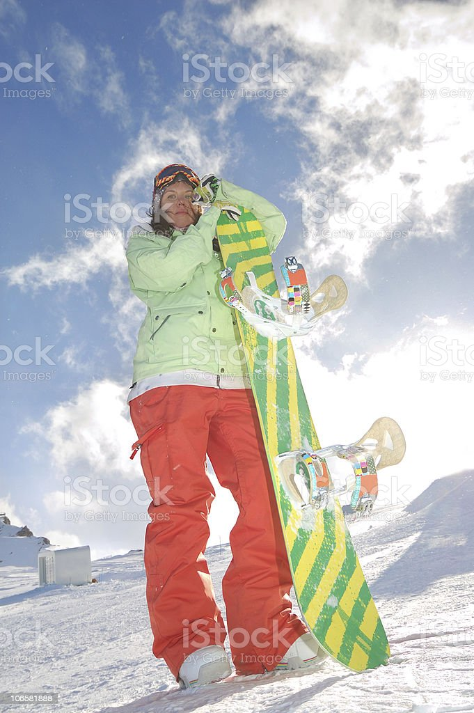 proffesoional snowboarder woman royalty-free stock photo