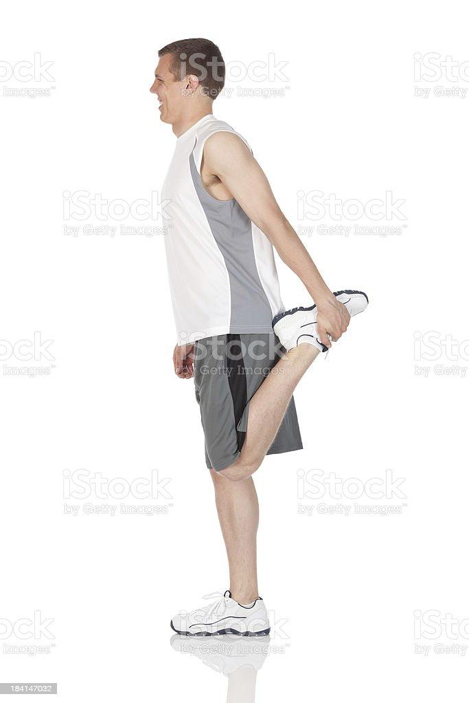 Profile a man exercising royalty-free stock photo