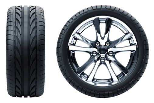 istock Profile and side profile view of a car wheel on white 95757579