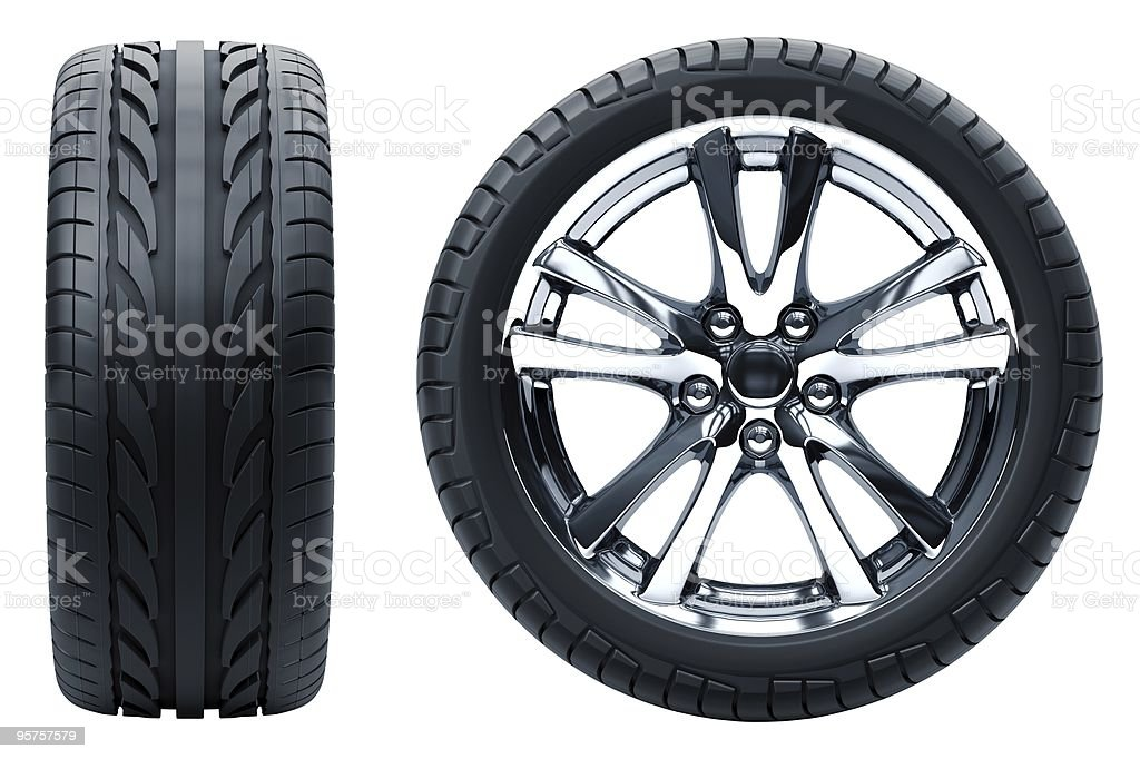Profile and side profile view of a car wheel on white stock photo