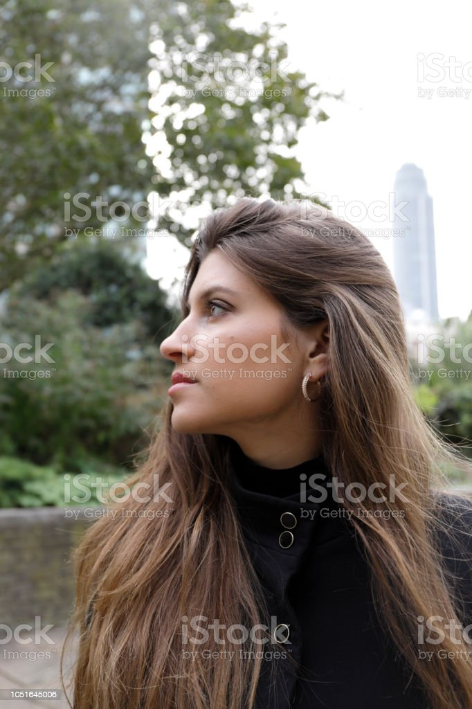 Profile city fashion London Russian outdoor girl black outfit stock photo