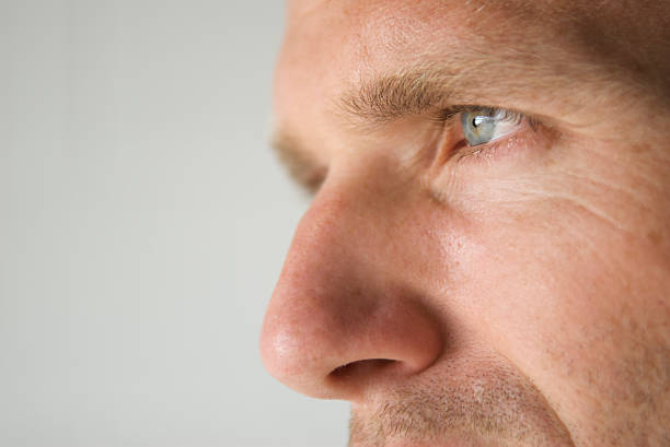 profile close-up of a man's blue eye and prominent nose - nose stock photos and pictures