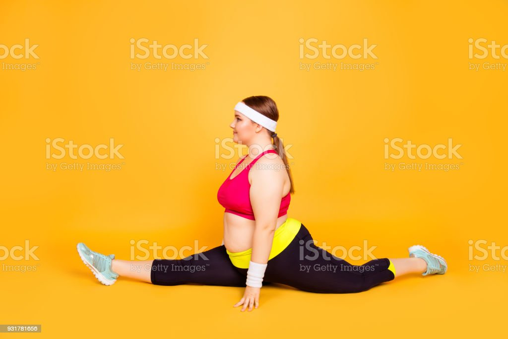 Profile Fulllength Portrait Of Flexible Cheerful Excited Glad Chubby