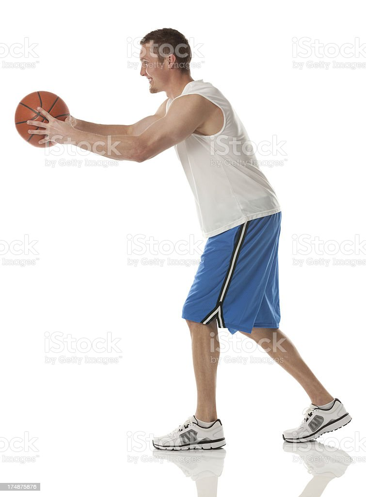 Profile of a basketball player royalty-free stock photo
