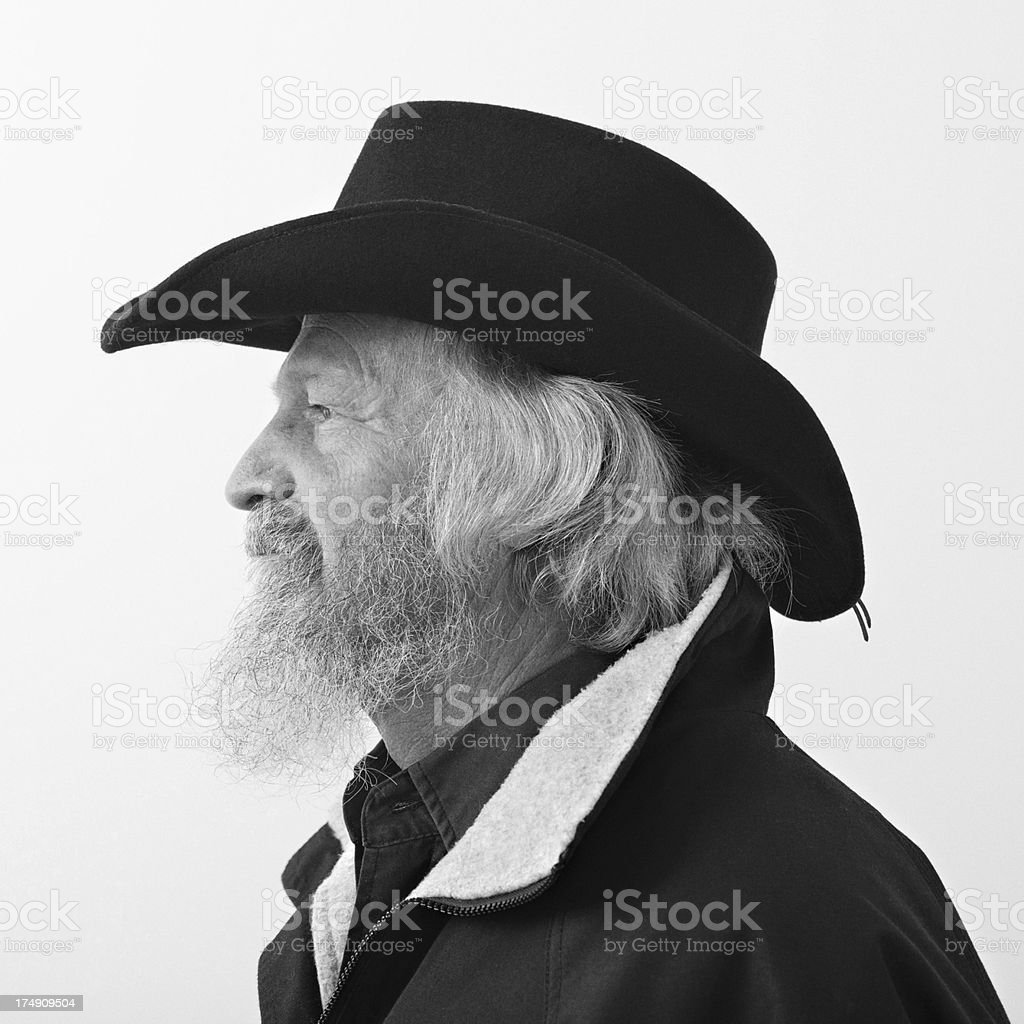 Profile of a beared cowboy royalty-free stock photo
