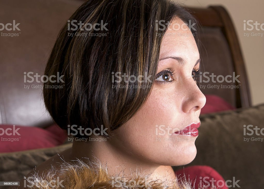 Profile of a Beautiful Brunette Woman with Short Hair royalty-free stock photo