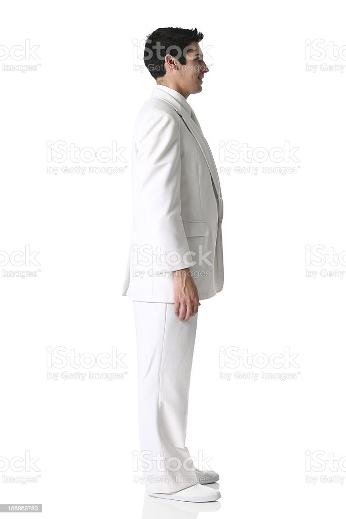 Profile of a businessman in white suit stock photo