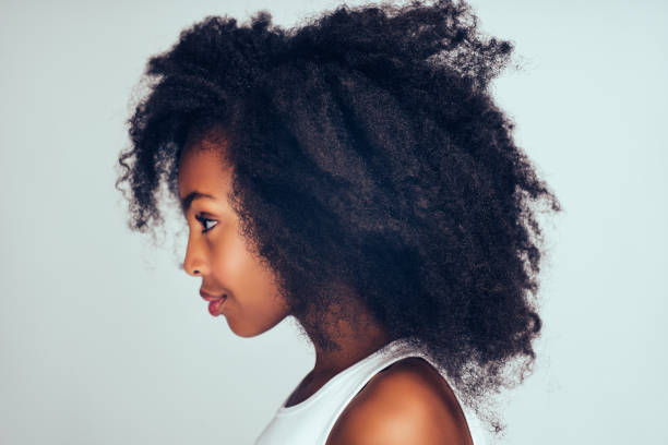 Profile of a cute little African girl with curly hair stock photo