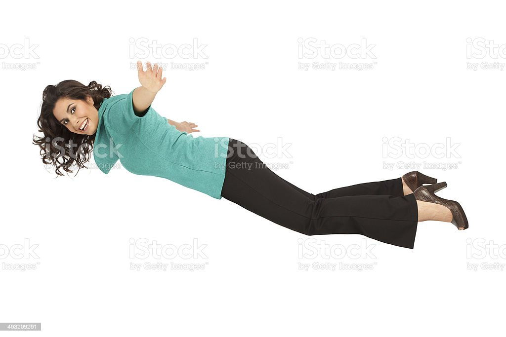 Profile of a Flying Attractive Woman stock photo