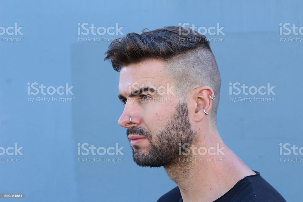 Profile of a male fashion model stock photo