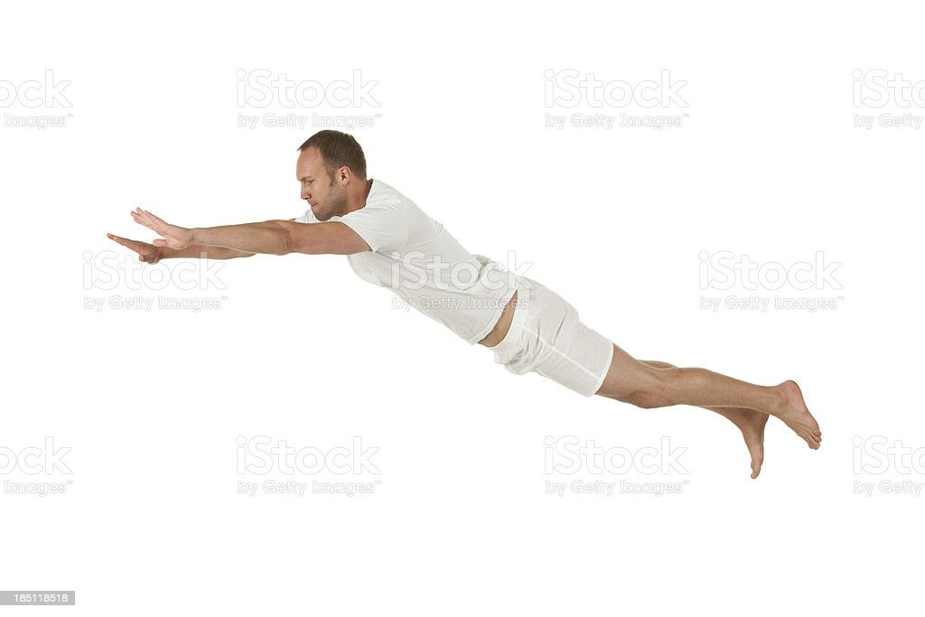 Profile of a man flying stock photo