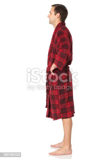 834639402istockphoto Profile of a man in bathrobe 183765203