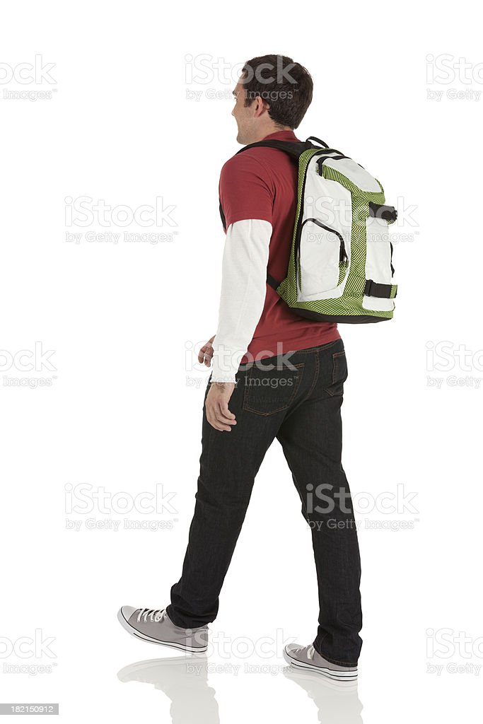 Profile of a man walking stock photo
