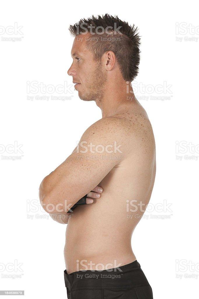 Fotografía de Perfil De Un Hombre Con Su Musculares Brazos Cruzados ...