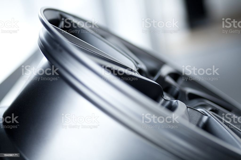 profile of a new car wheel rim. stock photo