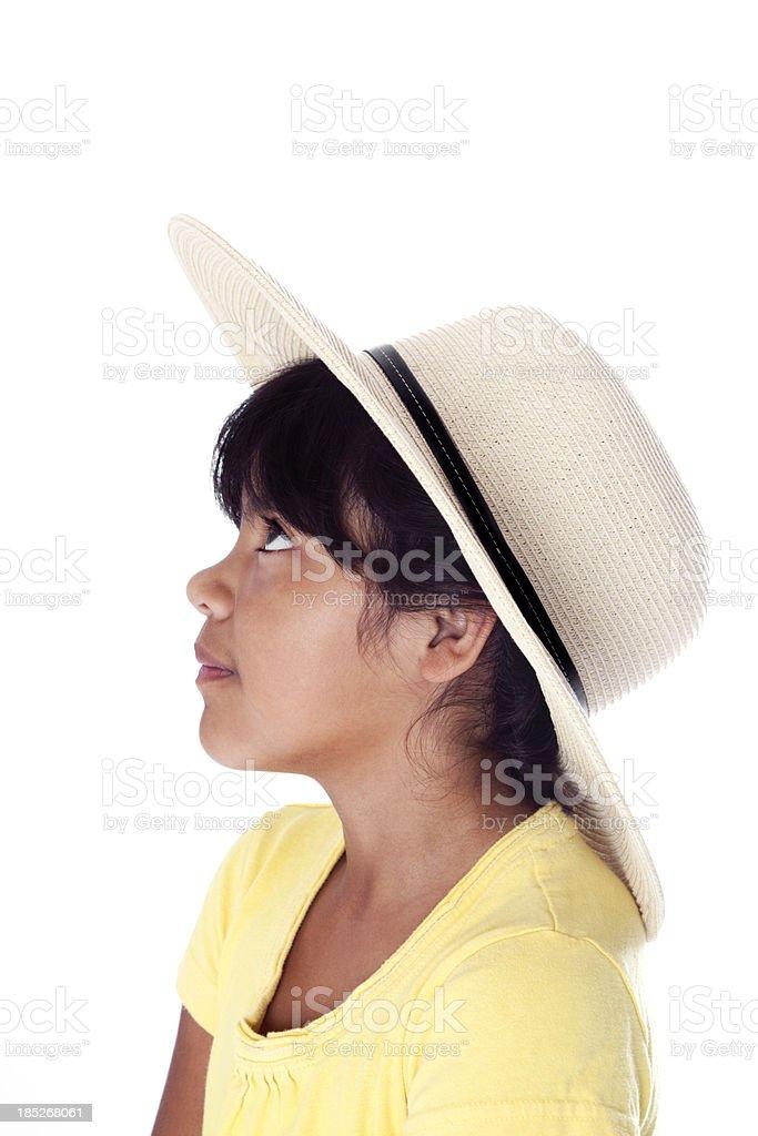 Profile of a Smiling Hopeful Hispanic Girl stock photo
