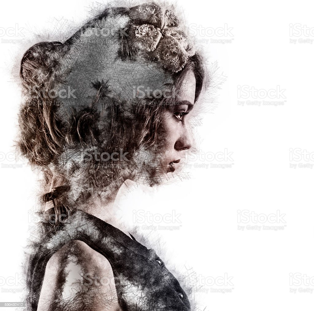 Profile of a woman stock photo
