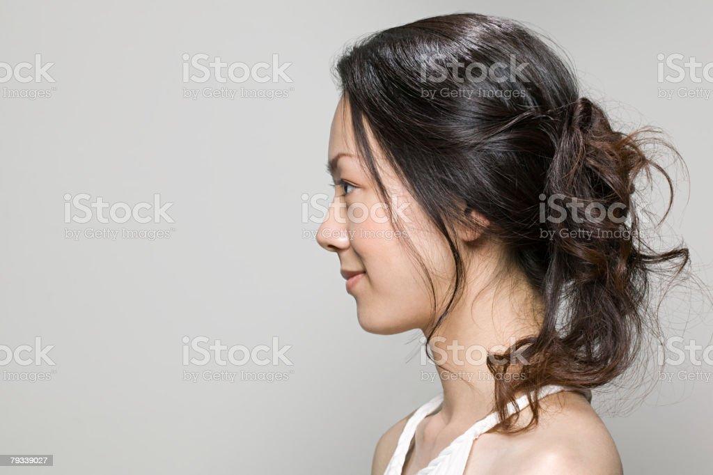 若い女性のプロファイル ストックフォト