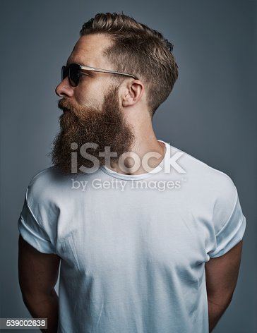 542972720 istock photo Profile of bearded handsome man with sunglasses 539002638