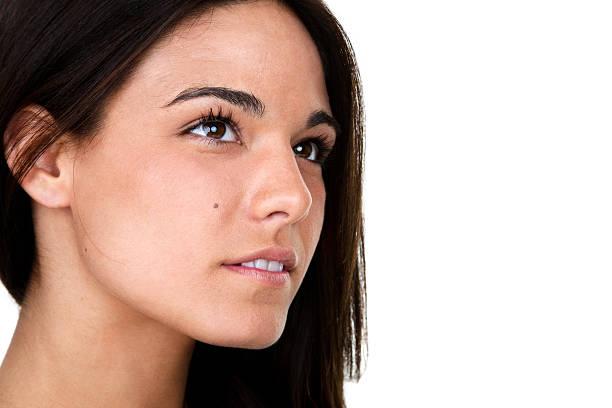 Profile of beautiful woman stock photo