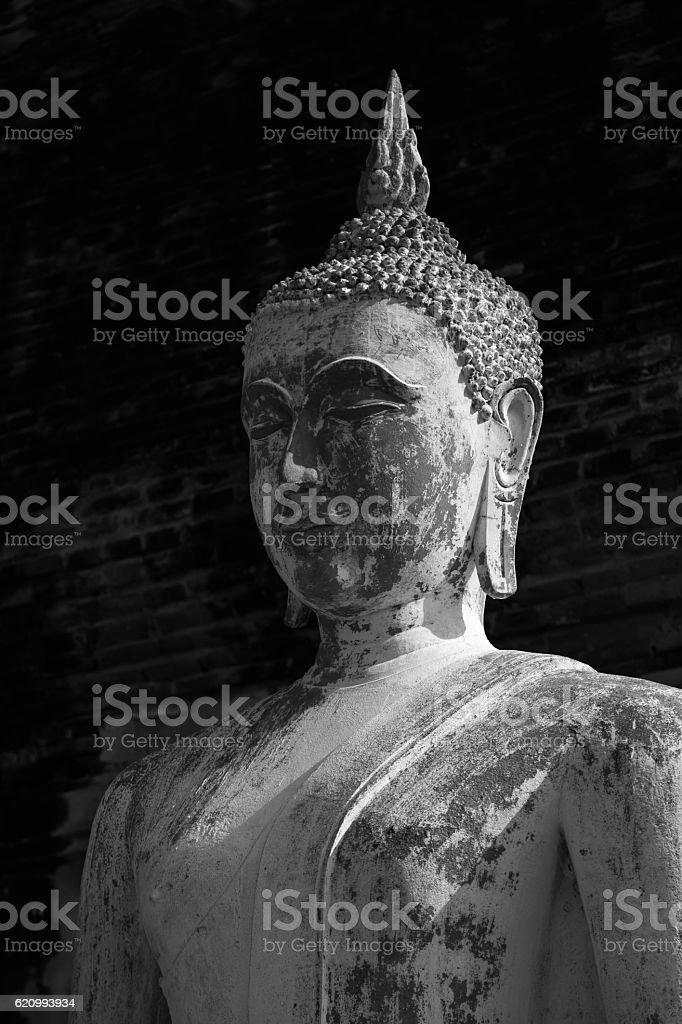 Profile of Buddha statue stock photo