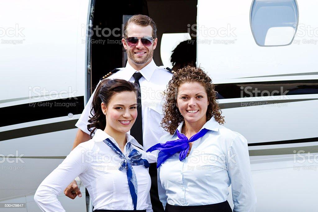 Profile of flight crew stock photo
