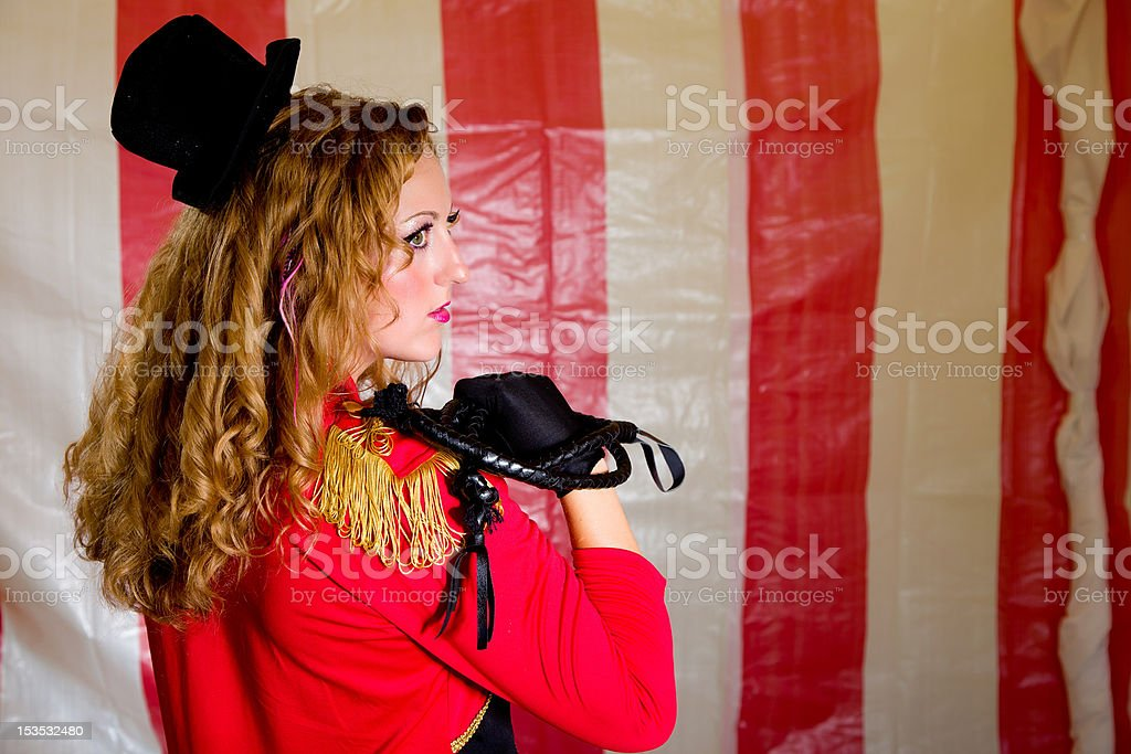 Profile of Lion Tamer stock photo